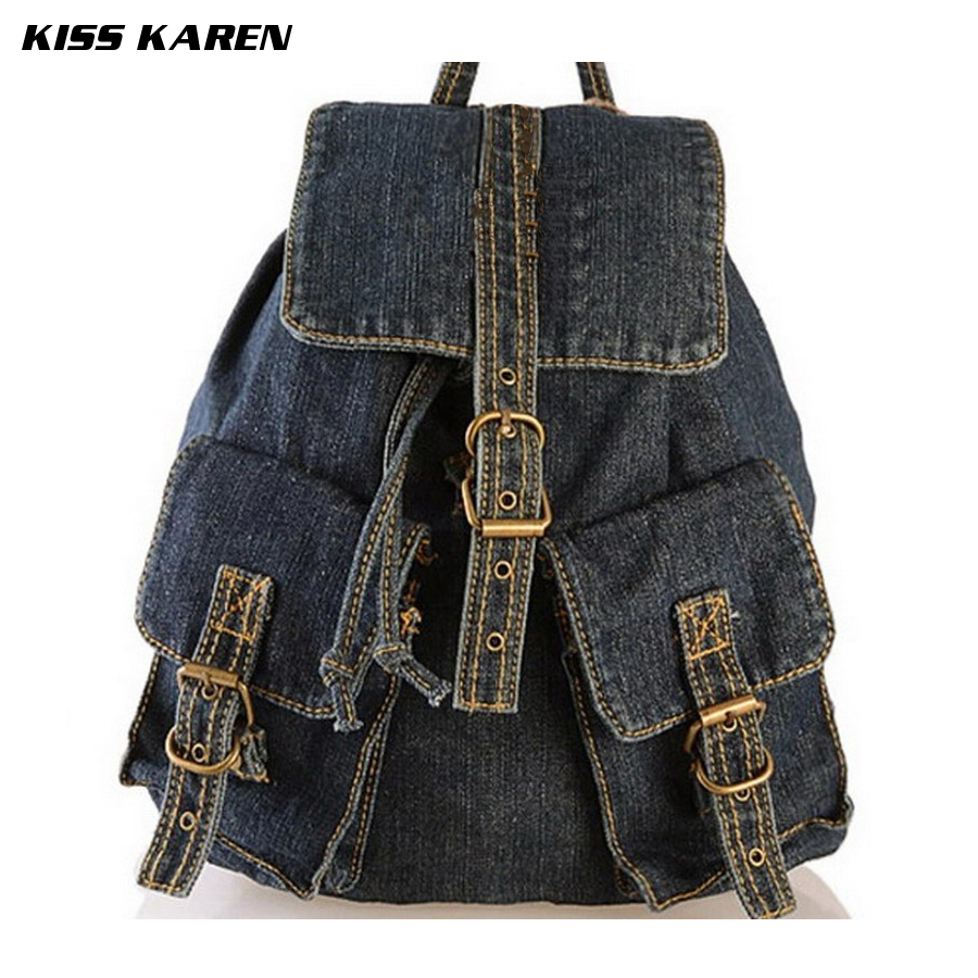 ФОТО KISS KAREN Classic Cowboy Fashion Casual Daypacks Denim Backpacks for teenage girls Retro Jeans Bag Travel Backpack Women
