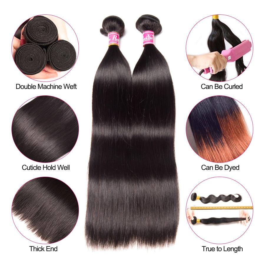 RUIYU Straight Hair Bundles Brazilian Hair Weave Bundles Mänskliga - Mänskligt hår (svart) - Foto 2