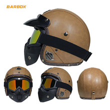 Motorcycle Helmets for Road Racing Downhill Removable Inner Lining Safety Caps with Goggle UV Protection PU Leather Shell Hats недорого