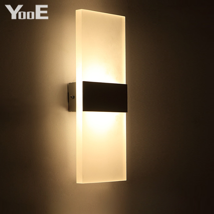 indoor 12w led wall lamp ac110v220v rectangular acrylic abajur sconce bedroom decorate wall lights - Wall Lamps For Bedroom