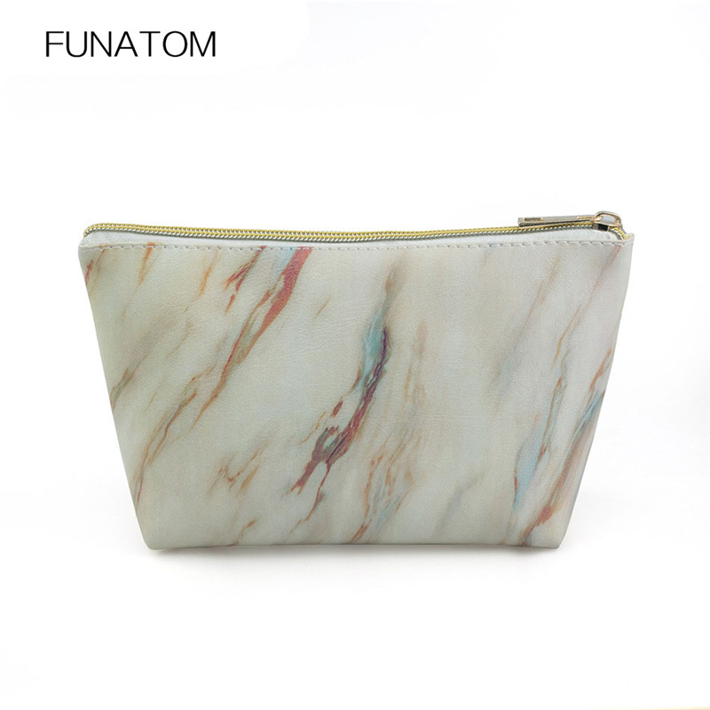 Travel Cosmetic Bag Marble Makeup Case Women Zipper Hand Holding Make Up Handbag Organizer Storage Pouch Toiletry Wash Bags