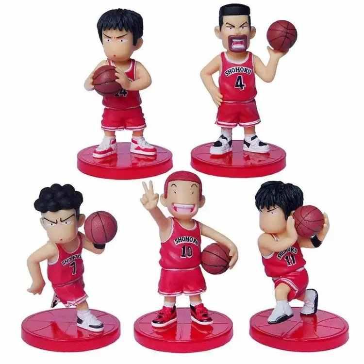 5 unids/lote Anime japonés 8cm Slam Dunk PVC figuras de acción baloncesto Sakuragi juguetes Hanamichi