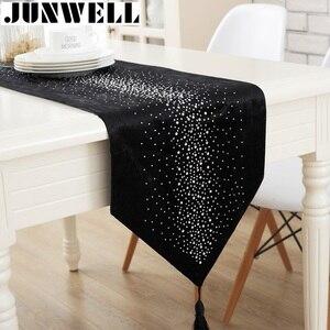 Image 1 - Junwell אופנה מודרני שולחן רץ גיהוץ יהלומי 2 שכבות רץ שולחן בד עם גדילים Cutwork רקום שולחן רץ