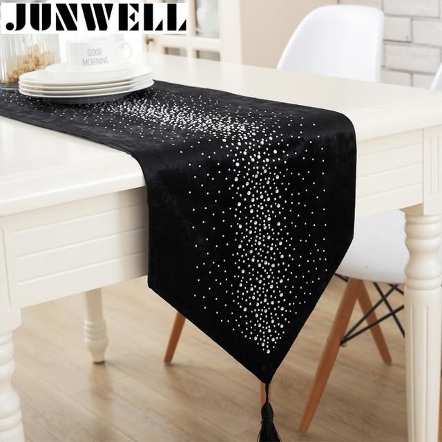 Junwell אופנה מודרני שולחן רץ גיהוץ יהלומי 2 שכבות רץ שולחן בד עם גדילים Cutwork רקום שולחן רץ
