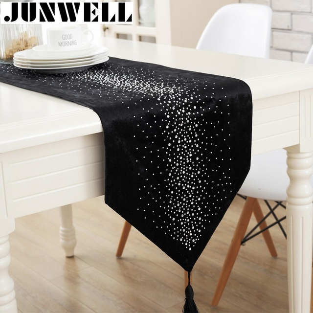 Junwell Fashion Modern Table Runner Ironing Diamond 2 Layers Runner Table  Cloth With Tassels Cutwork Embroidered