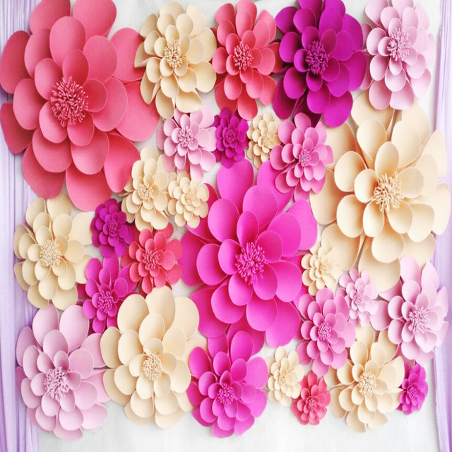 Aliexpress buy 28pcs set giant foam paper flowers for wedding 28pcs set giant foam paper flowers for wedding backdrops wall paper deco windows display stage props mightylinksfo