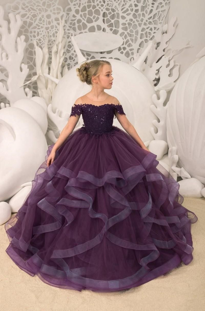 Grape Purple   Flower     Girl     Dresses   For Weddings Tiered Skirts Lace Beaded Sheer Pageant Gowns Formal Party   Dresses