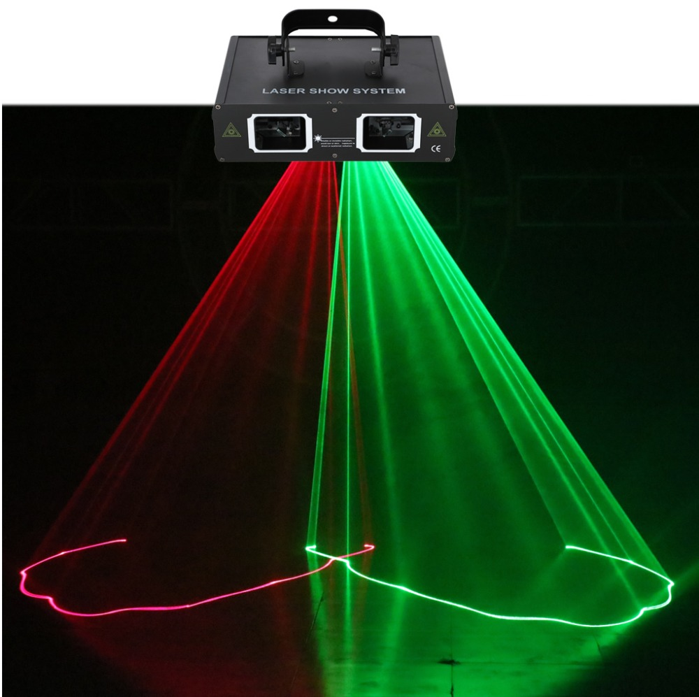 AUCD 2 Lens Red Green RG Beam Pattern Laser Light DMX 7CH PRO DJ Party Club Bar KTV Stage Lighting DJ-506RG цена