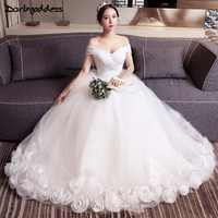 2017 Free Shipping Wedding Dresses Princess Sexy Sheer Ball Gown Short Sleeve Rose Flowers Women Wedding