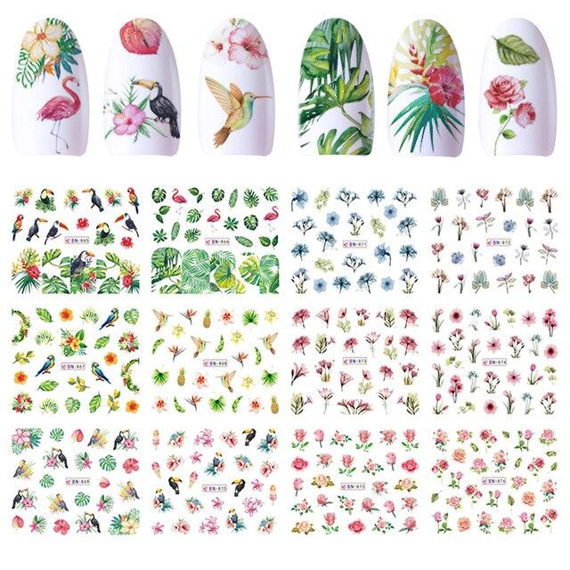 12 дизайн водяные знаки украшения для ногтей водные цветы для декора Птица Фламинго мозаика «Роза» маникюрные ползунки клейкий наконечник JIBN865-876