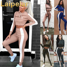 Womens Track Suit With Hood Crop Top and Legging Pants 2 Piece Set Summer 2018 Fashion Ladies Cotton Suit Hooded Fitness Wear