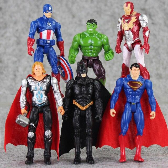 6 pçs/lote Super Herói figura set Spiderman superman batman Capitão América thor Hulk figura de ação DO PVC brinquedos