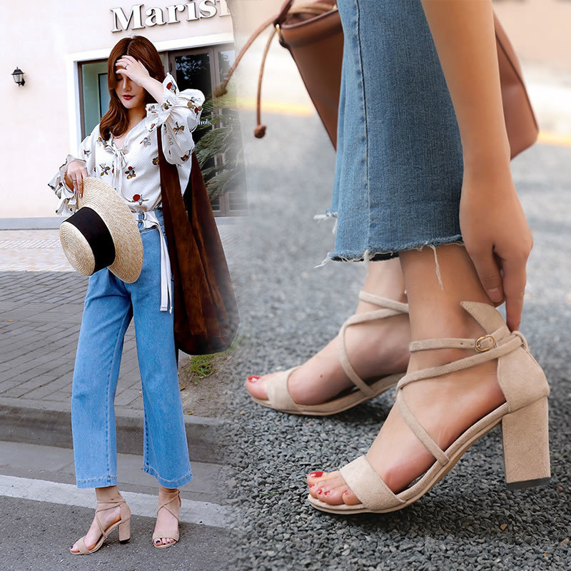 2019 summer new Korean version of a word cross with high heel thick with sandals women(China)