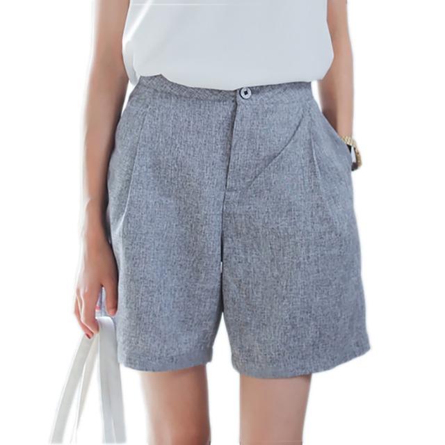 Moda de verão de Algodão e Linho Mulheres Soltas Calções Meados de Cintura Alta Shorts Feminino