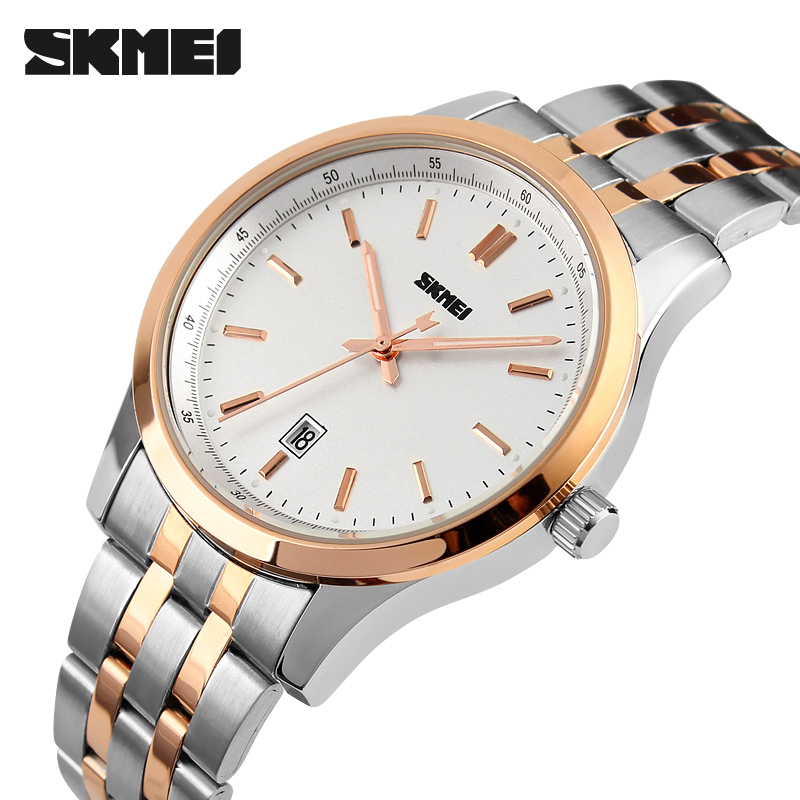SKMEI Men's Quartz Watch Men Fashion Casual Watches Full Stainless Steel Clock Relogio Masculino Waterproof Wristwatches Relojes weide popular brand new fashion digital led watch men waterproof sport watches man white dial stainless steel relogio masculino