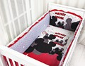 Promotion! 6PCS Mickey Mouse Baby Cot Crib Bedding Sets Baby cots Set in Cot Animals Boy ,include(bumper+sheet+pillow cover)