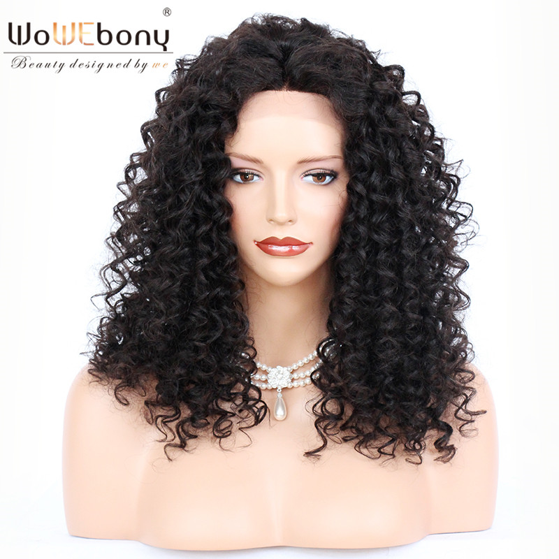 WoWEbony 100% Human Indian Remy Hair Funmi Curly Lace Front Wigs With Baby Hair Free Part