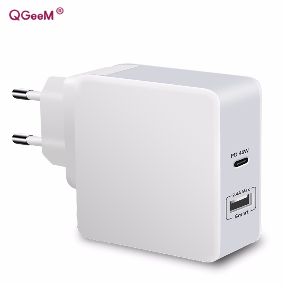 QGeeM Mobile Travel Charger For Macbook Pro USB-C USB A Adapter 45W Smart Apple Charger For Smart Phones Laptop MP3 PD Chargers