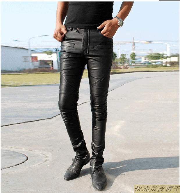 HOT 2018 NEW Spring clothing personality fashion slim men tight leather pants plus size slim genuine leather motorcycle trousers