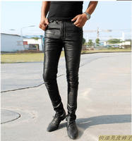 HOT 2019 NEW Spring clothing personality fashion slim men tight leather pants plus size slim genuine leather motorcycle trousers