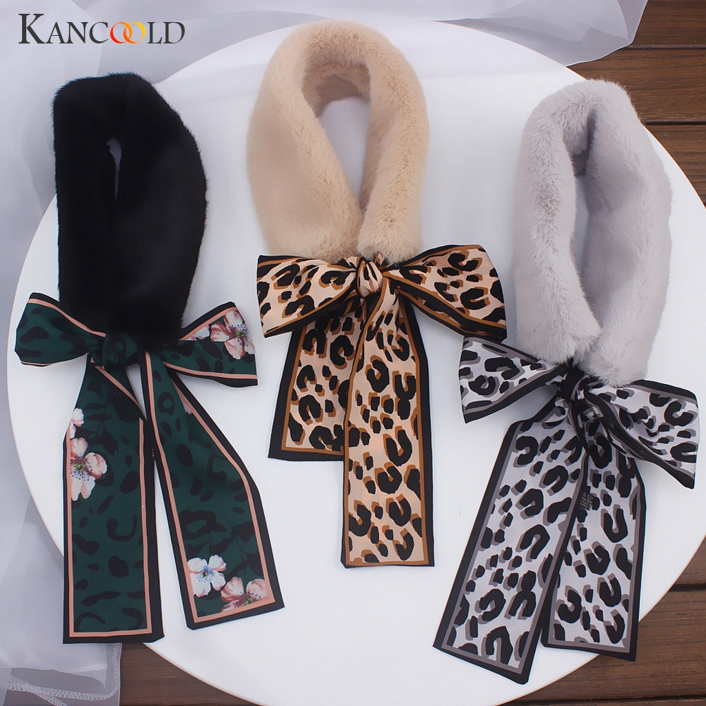 KANCOOLD   Scarf   Women Ladies Ribbon Winter Plush Collar Faux Fur   Scarf     Wrap   Neck Warmer Leopard Print   Scarf   Women 2018Nov20