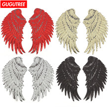 GUGUTREE embroidery big patches paillette wing badges for jackets