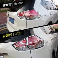 Araba Styling Nissan X-trail Rogue Için 2014-2016 2017 2018 için ABS Krom Arka Stop Lambası Lamba Kapağı park lambaları çerçeve Dekorasyon Trim