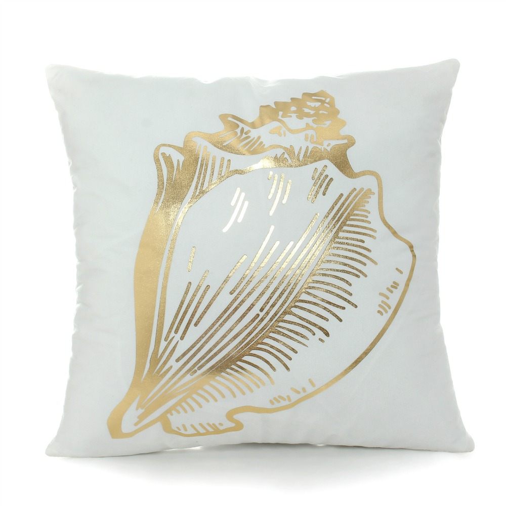 Nautical Sofa Throws Us 6 99 Golden Marine Cushion Cover Nautical Home Decor Anchor Sofa Chaise Throw Pillow Case Feather Whale White Sea Shell Almofada In Cushion