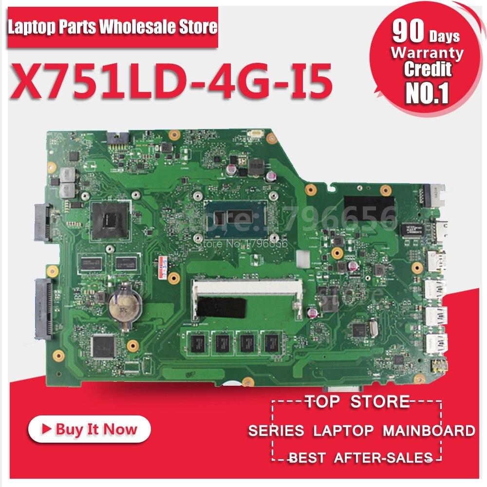 X751LD Mainboard For ASUS X751L K751L K751LN REV 2.0 Laptop Motherboard USB3.0 DDR3 with I5 4200U GT820 90NB04L1 R00021 Tested