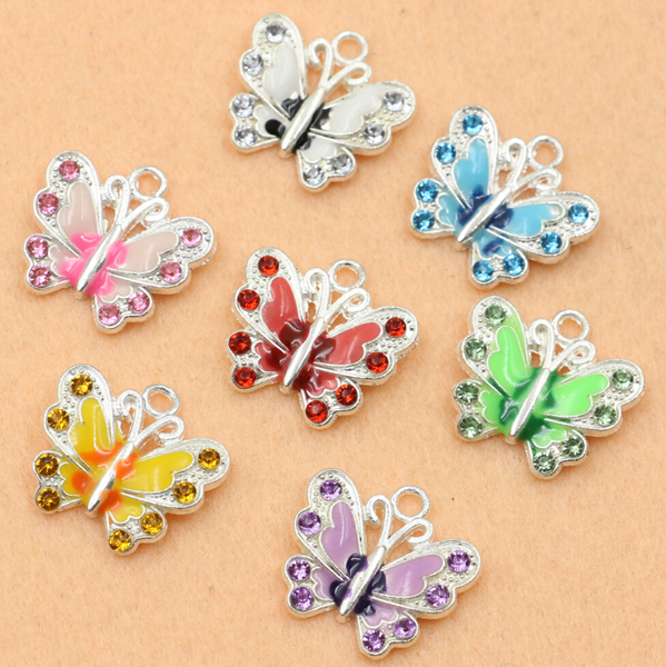 Mixed silver plated enamel crystal butterfly charms pendants for mixed silver plated enamel crystal butterfly charms pendants for jewelry making diy handmade 50pcs in charms from jewelry accessories on aliexpress audiocablefo
