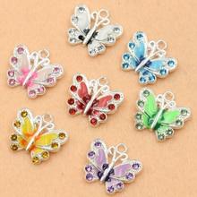 Pendentifs papillons en émail plaqué argent, cristal, pour la fabrication de bijoux, bricolage, fait à la main, 50pcs