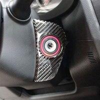 Karbon Fiber Araç İç Ateşleme Bobini Daire Çerçeve Kapak Trim Motor Çalıştırma Dekorasyon için 2013-2015 Ormancı XV Araba Styling
