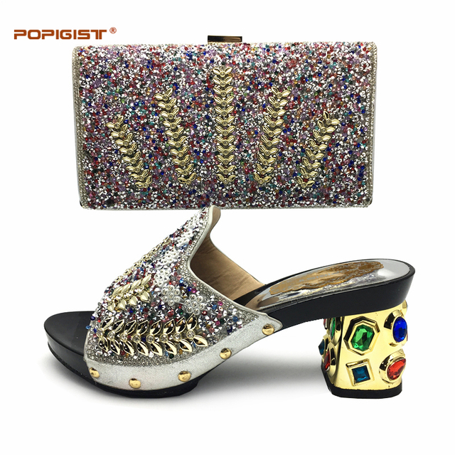 Dressing Silver Shoes And Bag Sets For Women Set In Italy New