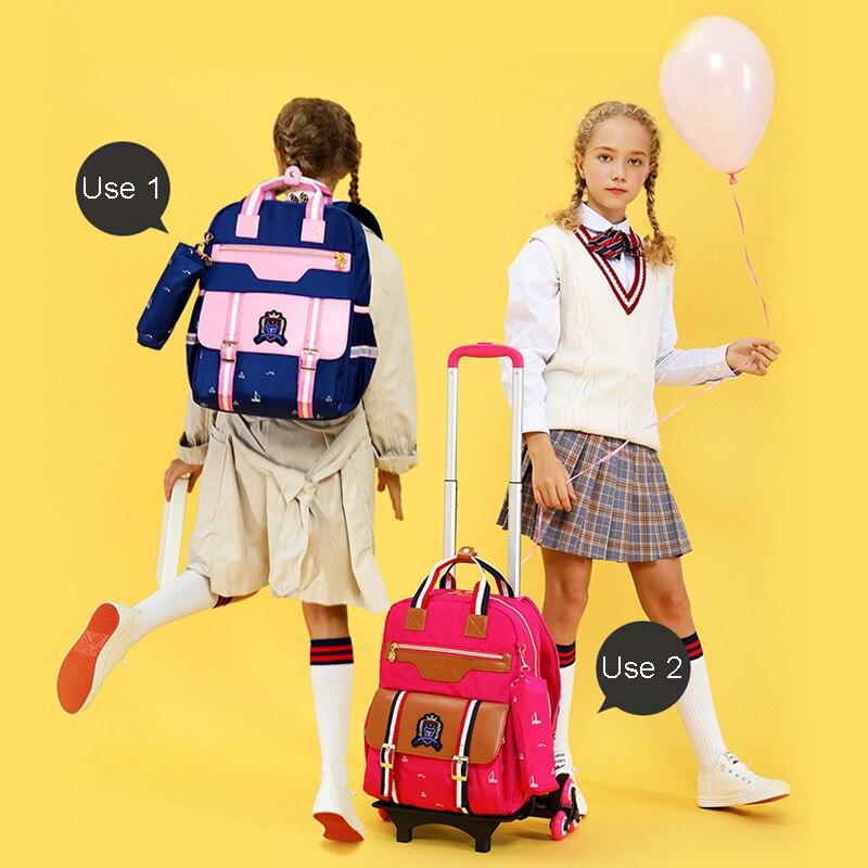 Sac à dos pour enfants avec roues sacs à dos à roulettes sac d'école enfants sacs d'école chariot-in Sacs d'école from Baggages et sacs    3