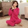 Primavera Verano 100% Pijama de Algodón Para Mujeres Pijamas Damas de Manga Corta Pijama Establece Pijamas de Las Mujeres ropa de Noche Ocasional XXXL