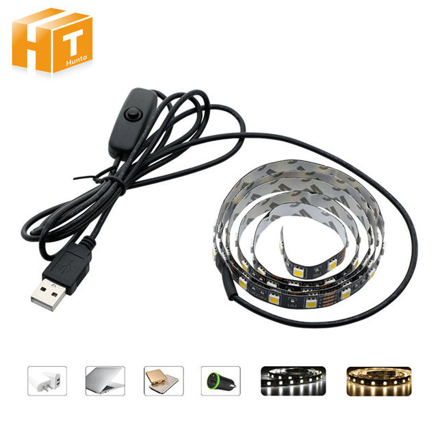USB 5V LED Strip 5050 TV Background Lighting 50cm / 1m / 2m 60LEDs/m Warm White / White USB Cable with Switch Strip set