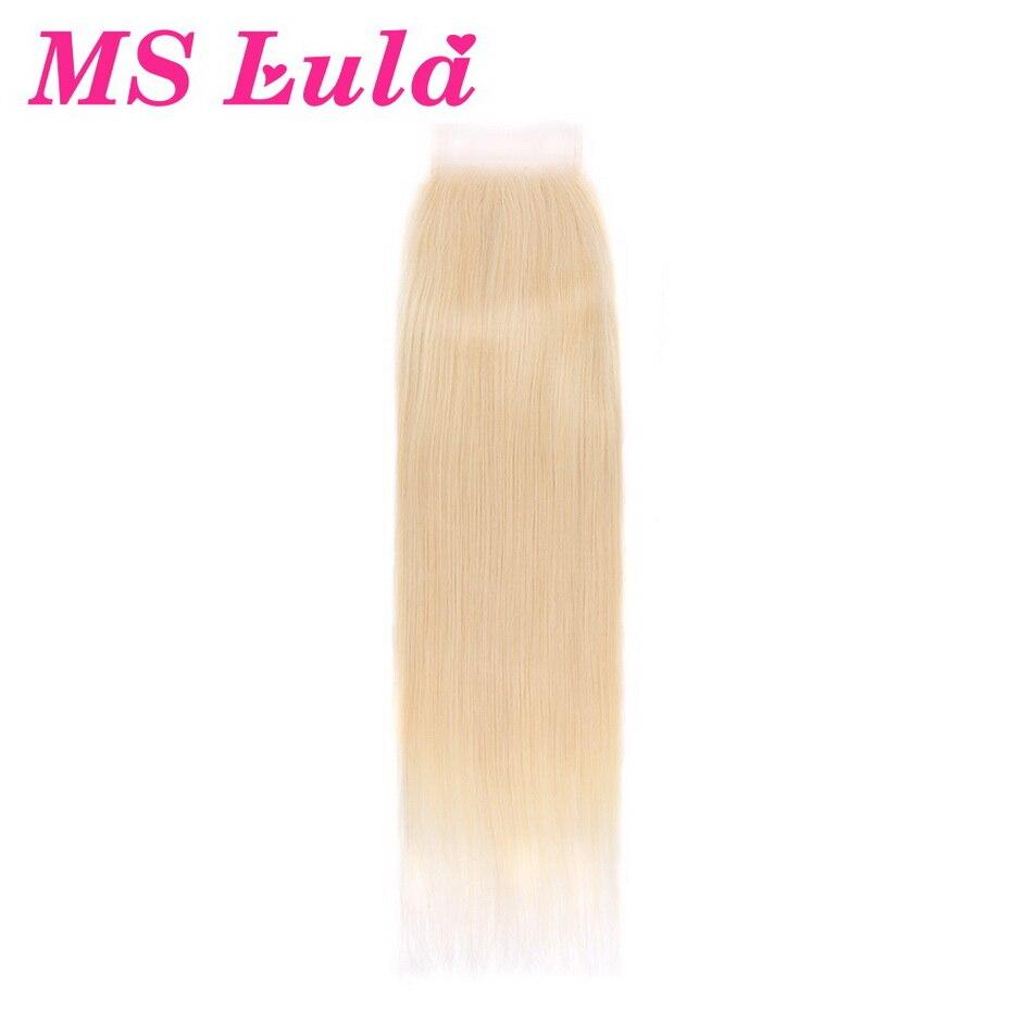 Ms lula волос Цвет 613 блондинку прямо Кружева Закрытие 4x4 бразильские Волосы remy бесплатная часть с ребенком человеческих волос бесплатная дост...
