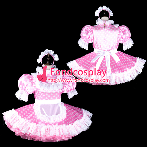 Sissy maid satin dress lockable Uniform cosplay costume Tailor-made[G2318]