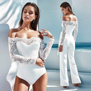 цена на Yhotmeng off shoulder sexy romper pure color lace bodysuit long sleeve bodysuit triangle plus size playsuit white black bodysuit