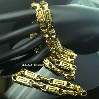 セットゴールドトンステンレス鋼男性のゴールドトーンビザンチンネックレス+ブレスレットN292b