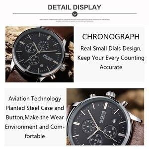 Image 4 - 캐주얼 새로운 군사 세련된 megir 브랜드 디자인 패션 크로노 그래프 남성 남성 시계 스포츠 가죽 비즈니스 럭셔리 손목 시계 선물
