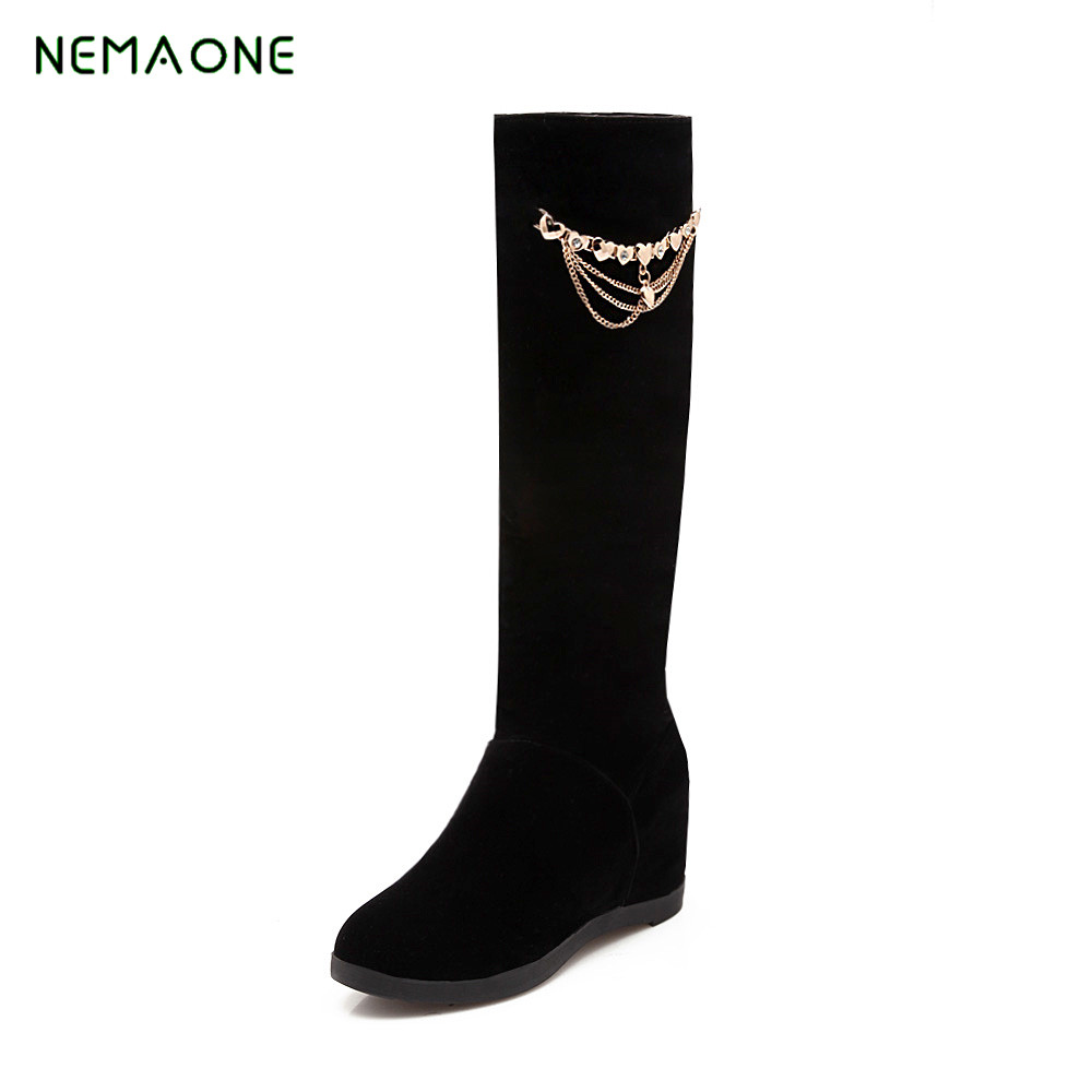 NEMAONE New Winter Women Warm Waterproof Snow Boots Fashion Platform Fur Cotton Shoes Wedges Knee High Easy Wear Boots nemaone 2017 new fashion russia keep warm snow boots round toe platform knee high boots winter shoes women boots
