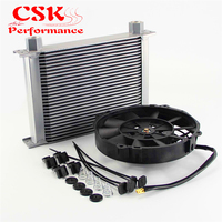 Universal 28 Row Engine Transmission AN10 7/8 14 Female Oil Cooler+ 7 Electric Fan Kit Silver