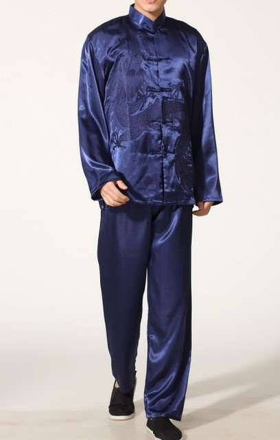 Navy blue Chinese Men s Polyester Satin clothing set Wu Shu suits tracksuit Kung  Fu Suit SIZE 86ebd36de
