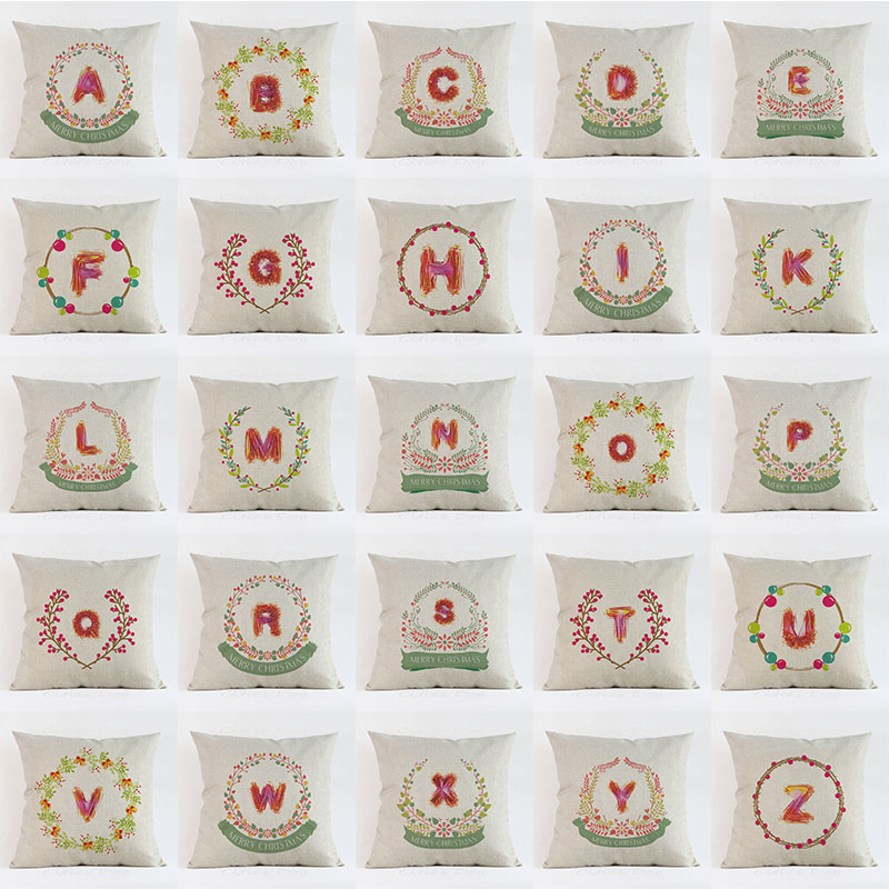 Christmas 26 English letters home decoration Watercolor Art pillow cushion cover cojines decorativos para sofa pillowcase
