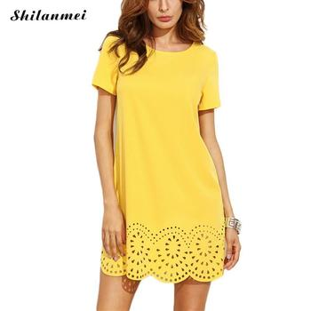 2017 women new fashion elegant Party Work vestidos bodycon sexy yellow mini short runway spring summer hollow out dress