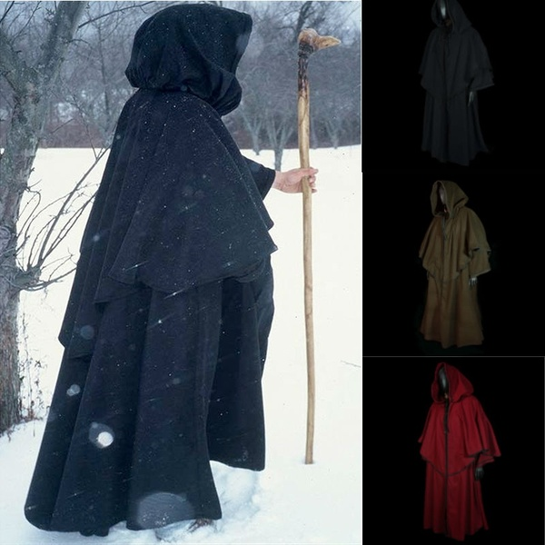 Vintage Unisex Men And Women Medieval Cape Long Sleeve Oversize Hood Robe Black Renaissance Larp Coat Cape Witch Wizard Fantasy