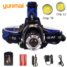 LED XM L-L2 Headlight led headlamp zoom head torch adjustable lamp 18650 battery front night lights Run time 15 hours Q16