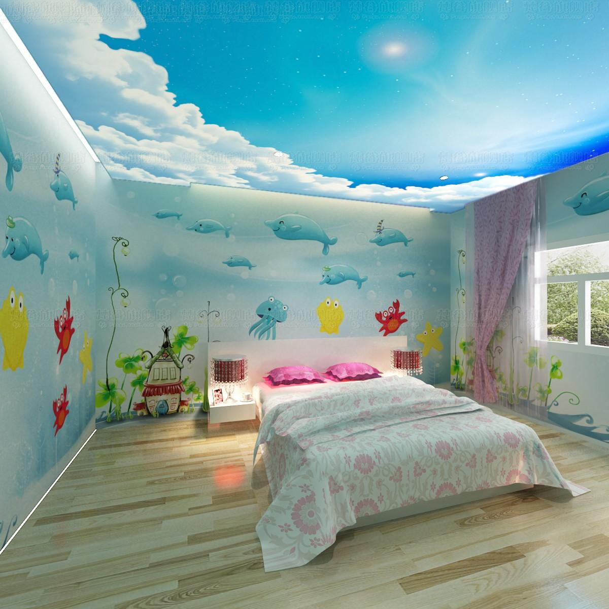 Free Shipping 3d Wallpaper Dolphin Cartoon Child Real Background