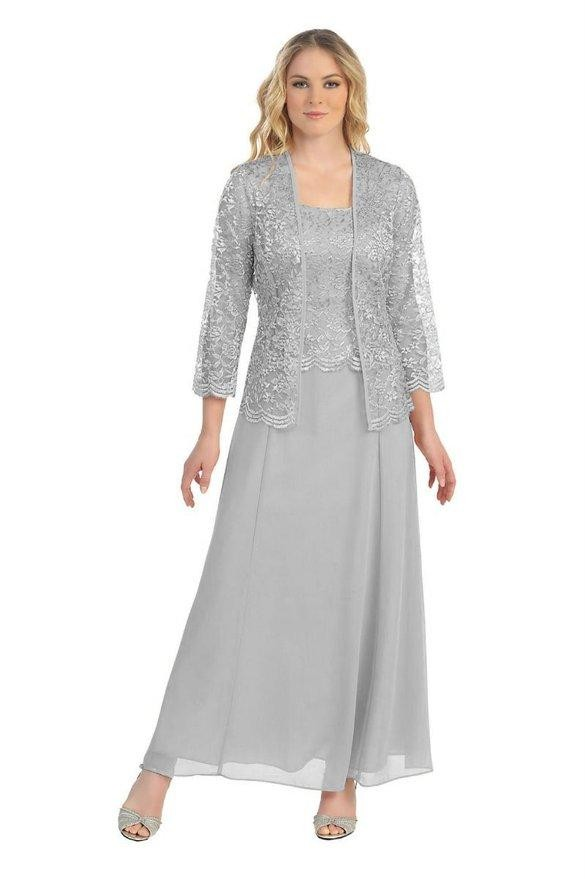Custom Gown Plus Size 14W 28W Silver Mother Of the Bride